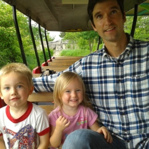 Celebrating Leo's 4th birthday with a train ride at the zoo.
